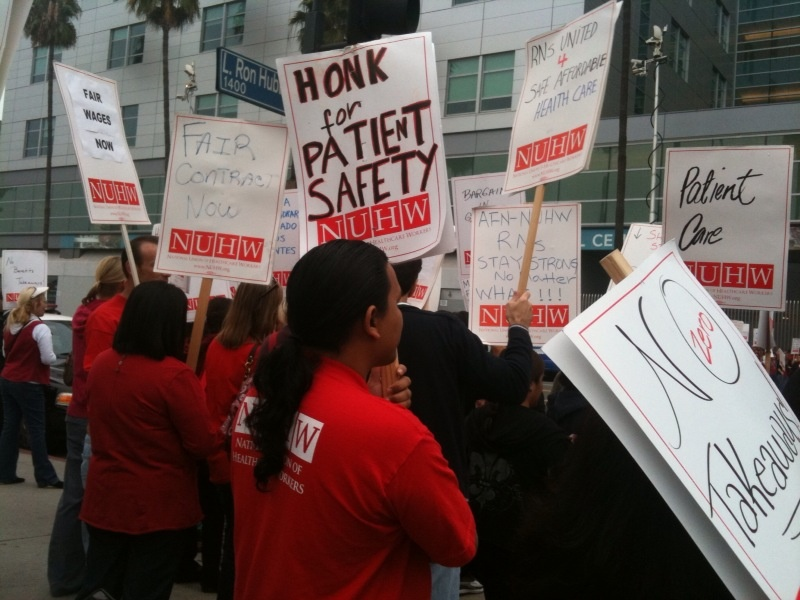 Nurses on strike outside Kaiser Medical Center in Los Angeles.