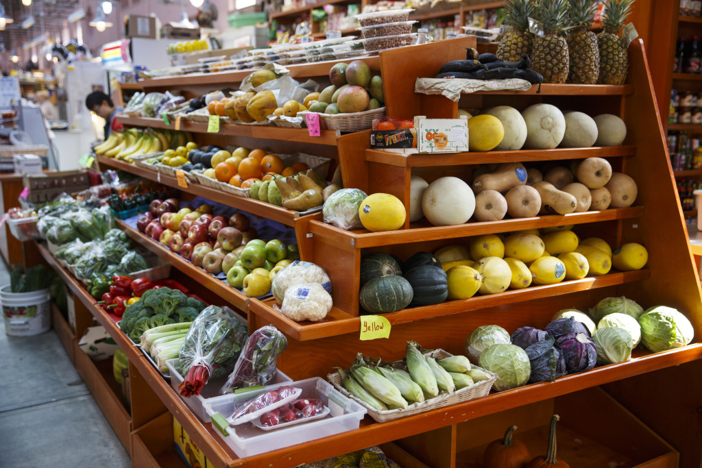 In this April 24, 2014 file photo, a variety of healthy fruits and vegetables are displayed for sale at a market in Washington. A 12-year study released Monday, Sept. 1, 2014, shows a steady improvement in American's eating habits, but food choices remain less than ideal.