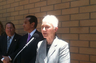 Brenda Barnette, the new chief of Los Angeles's Animal Services Department, speaks on June 17, 2010.