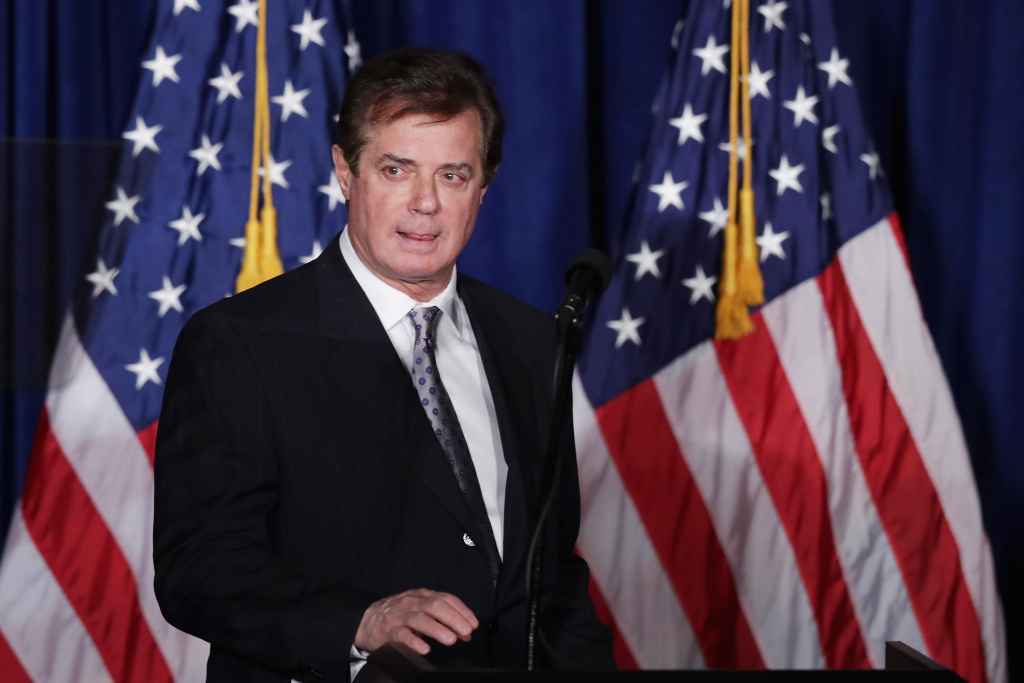 Paul Manafort, national chairman of Donald Trump's campaign, checks the teleprompters before Trump's speech at the Mayflower Hotel April 27, 2016 in Washington, DC.