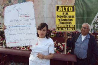 Jacqueline Franco holds a sign at an immigrant's rights press conference in downtown Los Angeles on Feb. 8, 2011. She missed a day of high school to attend the event.