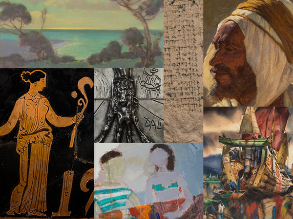 A selection of art and artifacts included in the collection: (clock-wise from upper left) Pastel on paper by Raymond Nott, Desert Arab Man by Gordon Harrower Coutts, Chinese Junks by Arthur Edwaine, The Lazy Day by Ahn Young-il, Red Figure Skyphos (drinking cup, on low-footed base), Mesopotamian Cuneiform Tablet, Don Quixote metal relief by Salvador Dali.