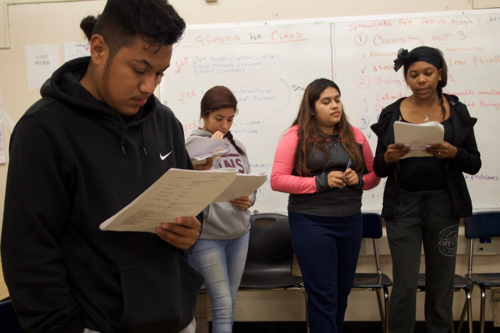 Students at Pueblo de los Angeles High School rehearse the play