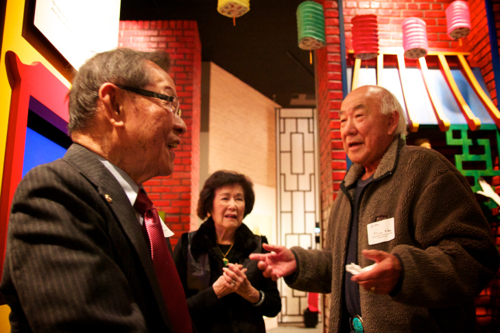 Myron Wong, 83, answers questions from reporters after today's ceremony.