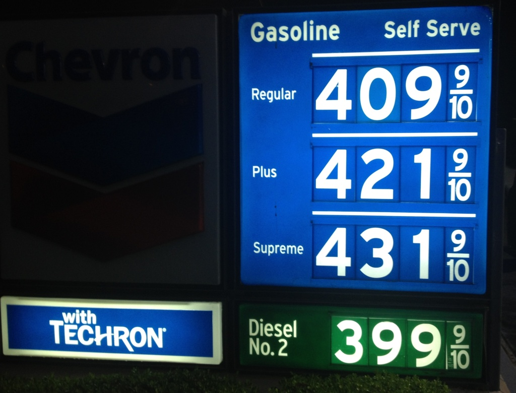 Gasoline prices are averaging more than $4 for a gallon of self-serve regular Wednesday in Southern California. Prices at this Newport Beach station are slightly above the Orange County average of $4.02.