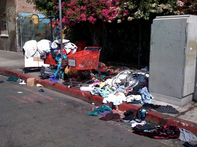 A homeless person's belongings are seen in Downtown Los Angeles.