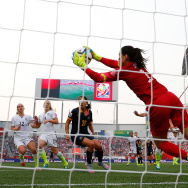 WINNIPEG, MB - JUNE 08:  Goalkeeper Hope Solo #1 of United States makes a save in the first half against Australia during the FIFA Women's World Cup 2015 Group D match at Winnipeg Stadium on June 8, 2015 in Winnipeg, Canada.