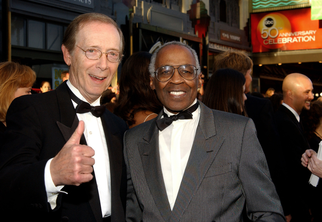 Actors Bernie Kopell (left) and Robert Guillaume (right) attend the ABC Television Network's 50th Anniversary Special at the Pantages Theatre on March 16, 2003.