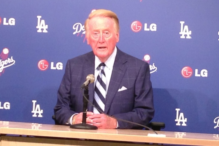 Los Angeles Dodgers broadcaster Vin Scully told reporters recently he now starts every season thinking it could be his last, but he'll return for a 65th season next year. Scully has also been selected to serve as grand marshall in the 125th Rose Parade in Pasadena, Calif.