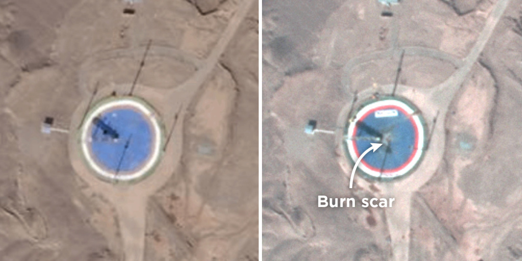 These satellite images show a circular launchpad for the Safir rocket at the Imam Khomeini Space Center in Iran. The image on the right, taken on Feb. 6, shows a burn scar. The image on the left, from Jan. 21, does not.
