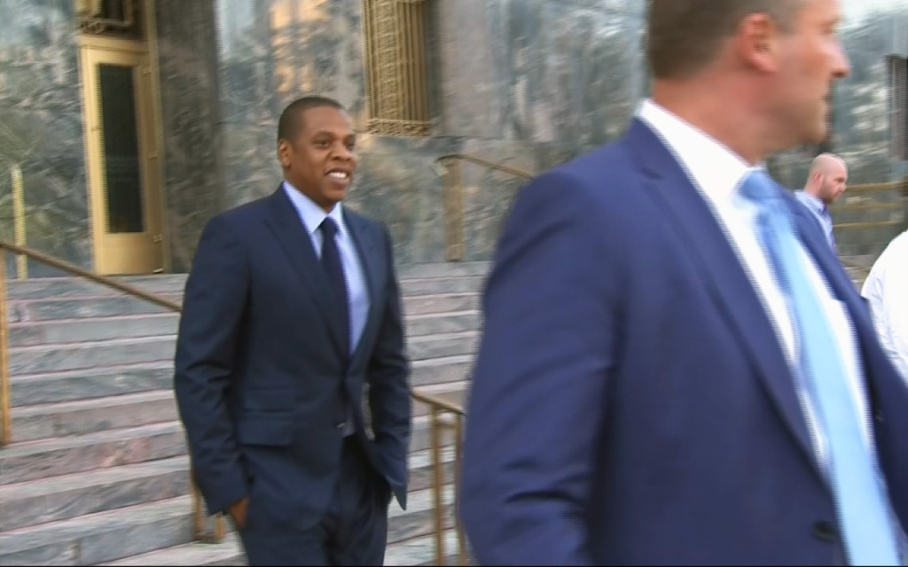 File: In this image taken from video, rapper and entrepreneur Jay Z appears outside of court in Los Angeles for a copyright infringement trial over his hit song