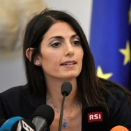 New Rome mayor Virginia Raggi speaks during a press conference at the Romes Campidoglio city hall on September 21, 2016.