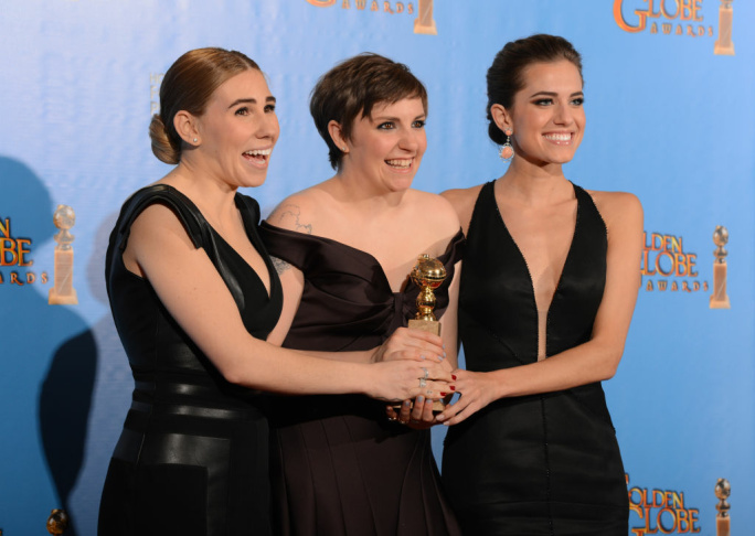 Actress Zosia Mamet, actress/writer Lena Dunham, and actress Allison Williams pose with Best Series Award in the press room during the 70th Annual Golden Globe Awards held at The Beverly Hilton Hotel on January 13, 2013 in Beverly Hills, California.