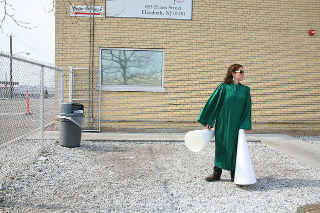 A participant in a rally outside a contractor-run immigrant detention center in New Jersey, March 2009