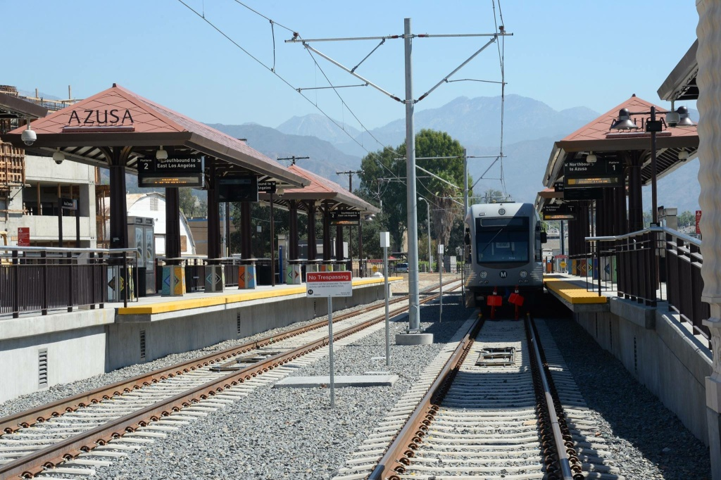 FILE: The Azusa downtown station is part of the Foothill Gold Line extension. As the line pushes into San Bernardino County, Metrolink officials worry that it will draw riders away from their line.
