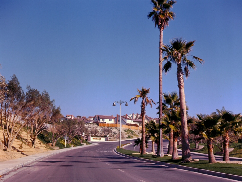 La Paz Road, headed inland from the freeway, Mission Viejo, 1967.
