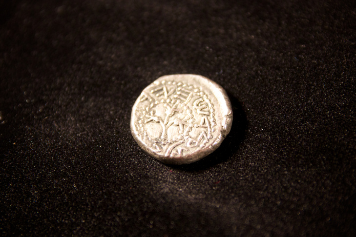 The reverse of a prototype silver shekel, valued at $950,000.