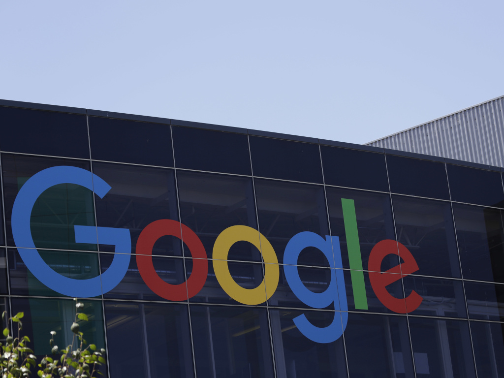 The Google logo is visible at the company's headquarters in Mountain View, Calif.