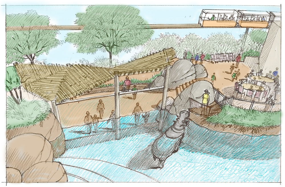 An artist's rendering of the new Simmons Hippo Outpost habitat at the Dallas Zoo, which will be the home of Adhama, a 2-ton male hippo being moved from the Los Angeles Zoo in hopes that he will breed with a female at the Texas attraction.