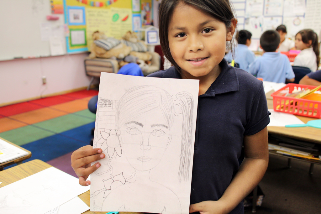 Nine-year-old Destiny Diaz says learning about Frida Kahlo inspired her to draw more.