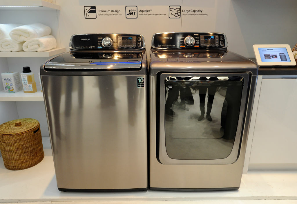 Samsung's Smart Care washer and dryer are on display at the 2013 International CES at the Las Vegas Convention Center on January 8, 2013 in Las Vegas, Nevada.