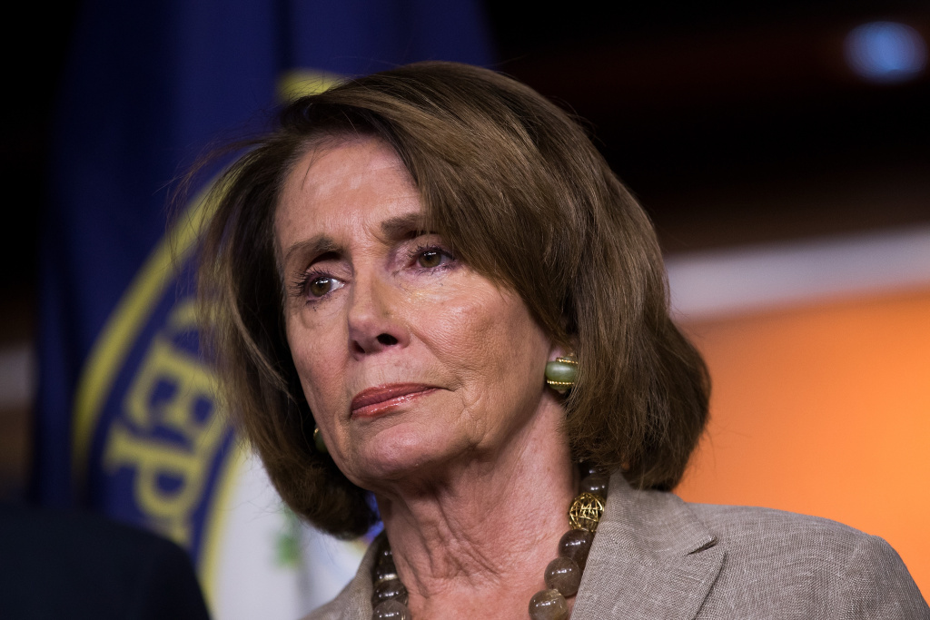 WASHINGTON, DC - JULY 28:  House Minority Leader Nancy Pelosi (D-CA) looks on during a press conference regarding the Senate's defeat of the GOP health care plan, on Capitol Hill, July 28, 2017 in Washington, DC. Senate Republicans failed to pass a stripped-down, or 'Skinny Repeal,' version of Obamacare reform early Friday morning. (Photo by Drew Angerer/Getty Images)
