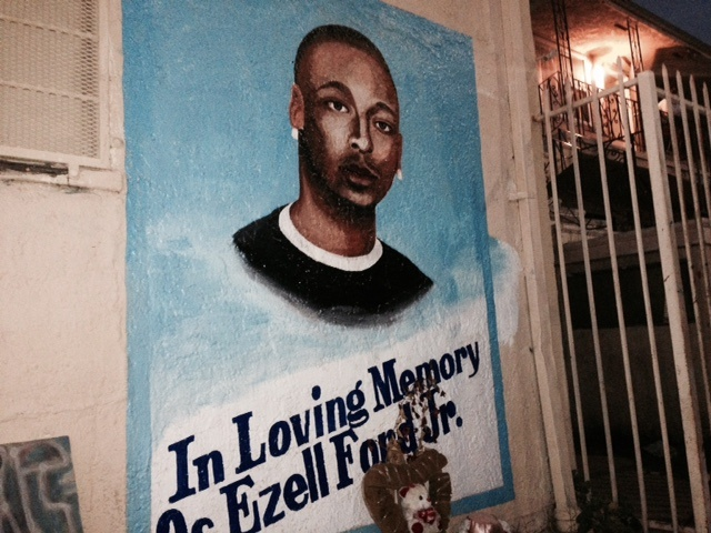 A few LA protesters gathered at a makeshift memorial at 65th and Broadway for Ezell Ford Monday night after the autopsy report was released.