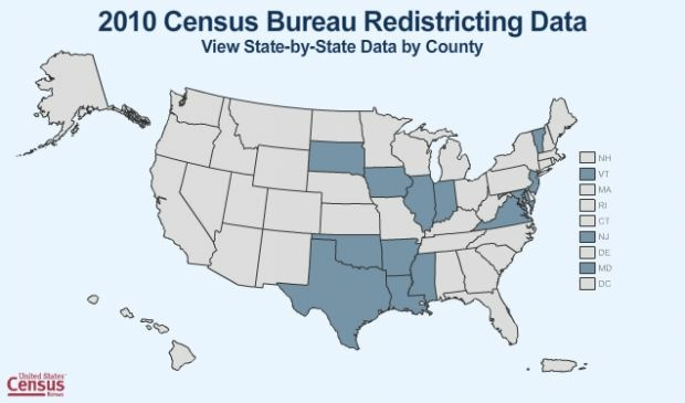Screen shot of U.S. Census Bureau map showing state-by-state 2010 data, including ethnic populations