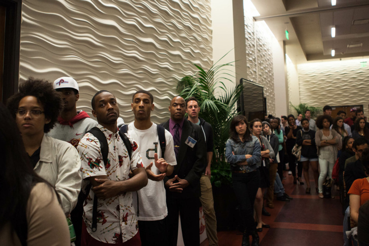 More than 700 USC students turned out to air their grievances with the LAPD and the university administration after nearly 80 officers broke up a party of mostly African-American students.