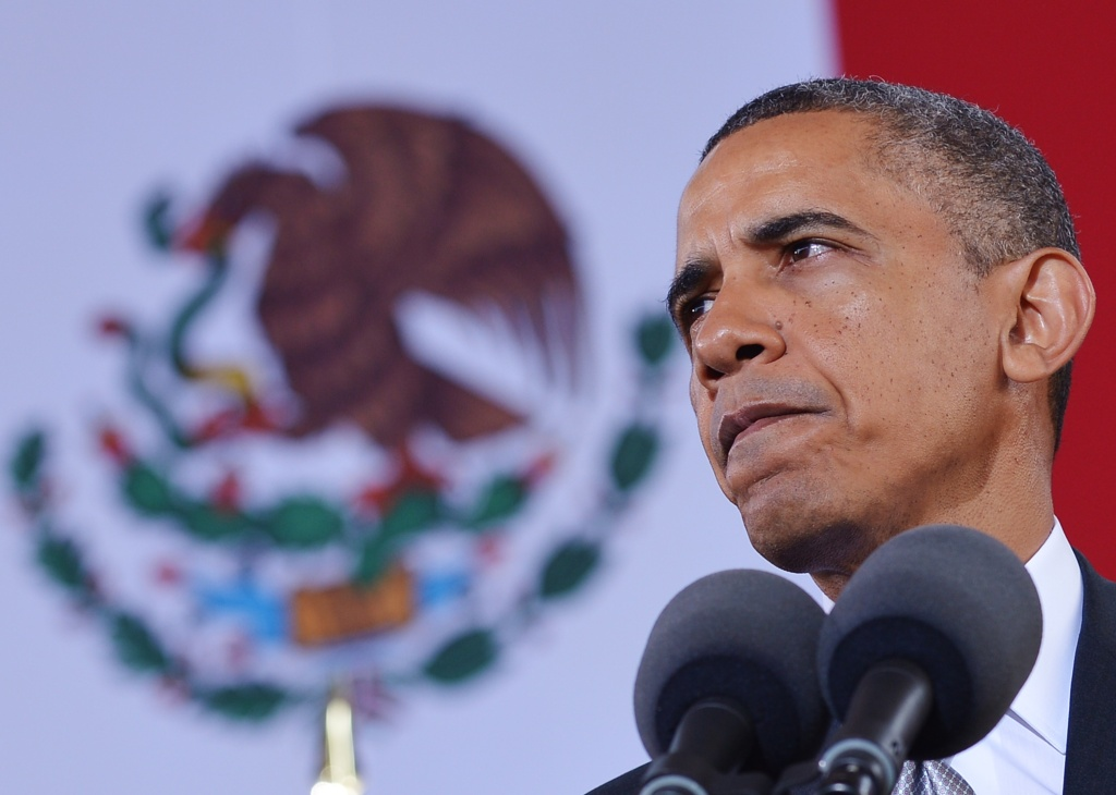 US President Barack Obama speaks at the National Anthropology Museum on May 3, 2013 in Mexico City. Obama landed in Mexico on Thursday at the start of a three-day trip that will also take him to Costa Rica, with trade, US immigration reform and the drug war high on the agenda.