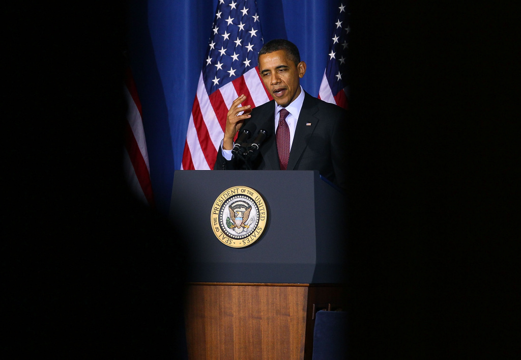 U. S. President Barack Obama, speaks during the White House Conference on Conservation , at the Department of the Interior, on March 2, 2012 in Washington, DC