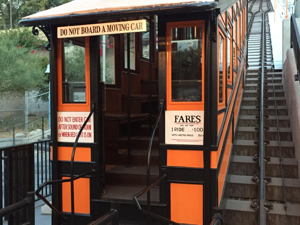 A shot of one of the two trams at Angels Flight railway on Thursday, Aug. 31, 2017, the railway's grand re-opening day after a four-year closure and nearly $5 million renovation.