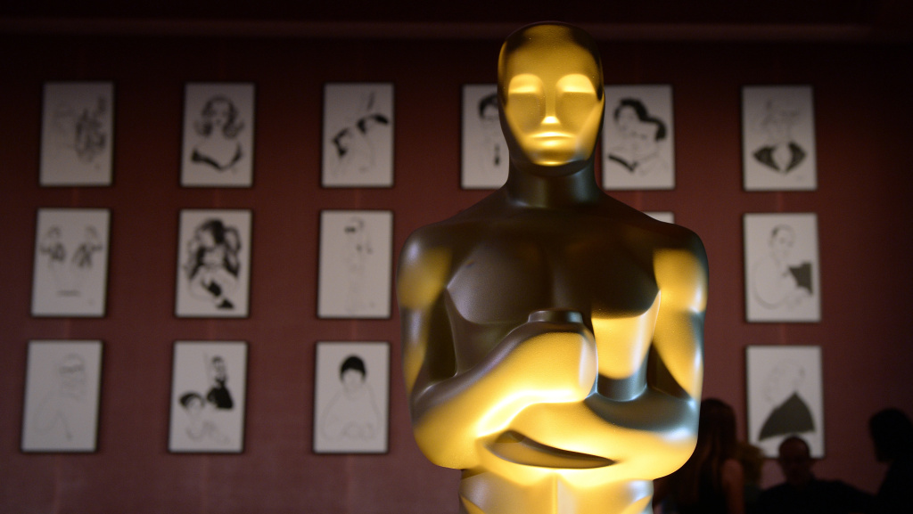 A reproduction of an Oscar statuette stands tall at a 2016 media event in Hollywood, Calif.