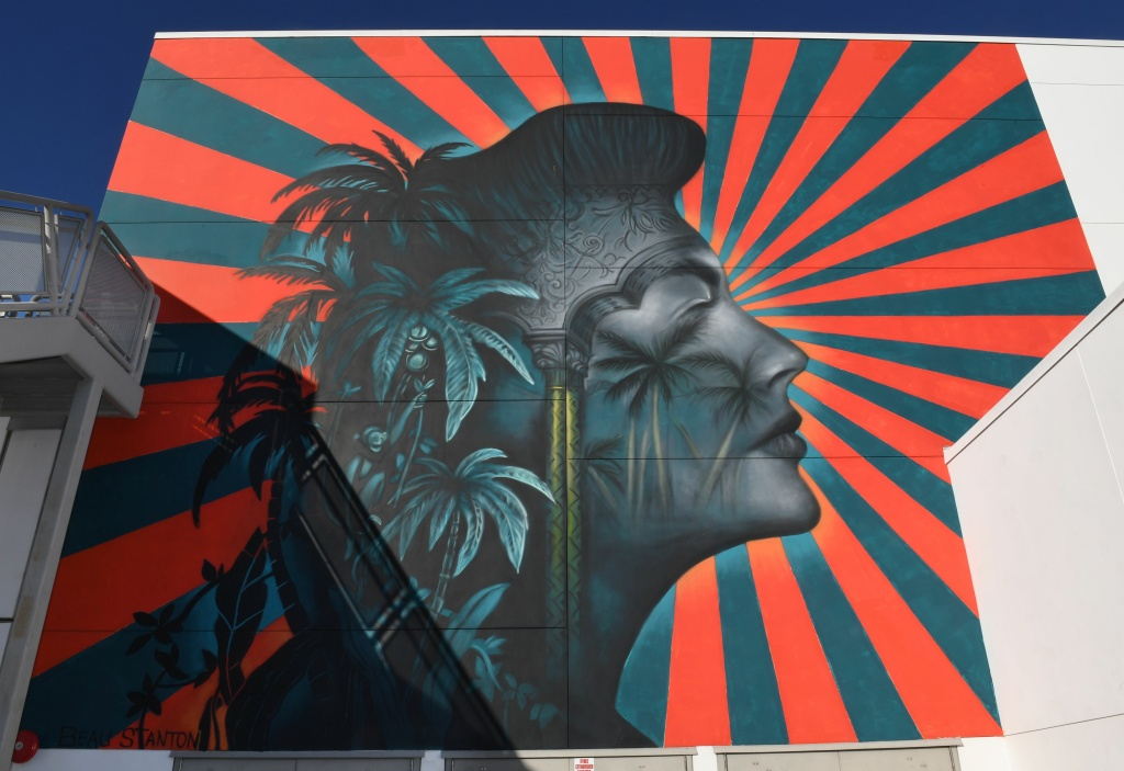 The controversial mural of Hollywood legend actress Ava Gardner, by muralist Beau Stanton, situated at the Robert F. Kennedy Community School, that will be removed after local Korean American groups objected to it saying its sun rays bear a resemblance to the rising sun of the imperial Japanese battle flag used in WWII, in Los Angeles, California on December 13, 2018.
