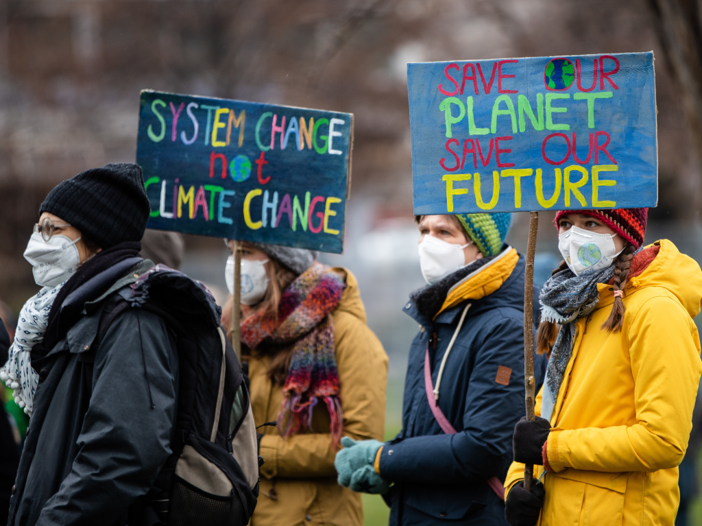 Activists advocate for better climate protection at a demonstration last month in Stuttgart, Germany.