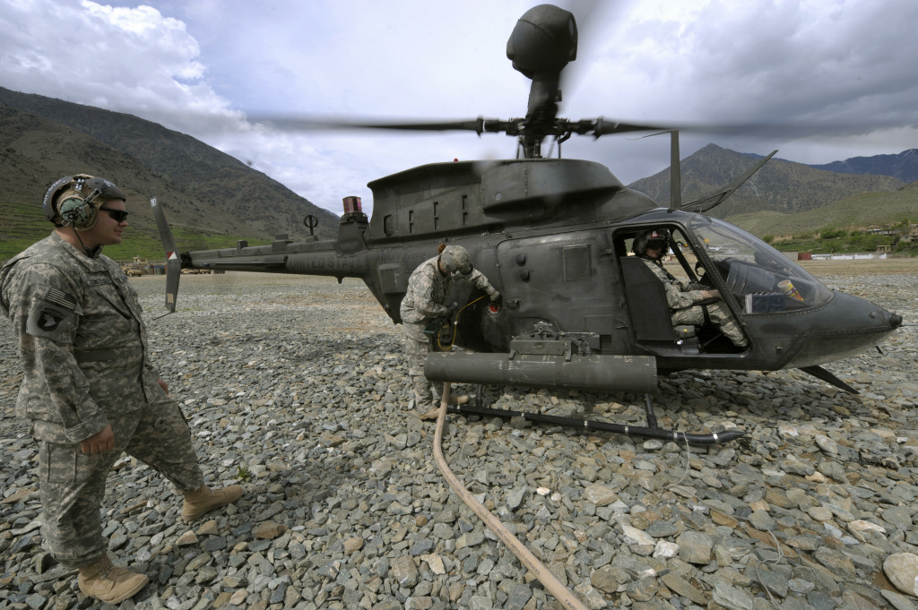 U.S. Army soldiers from the 101st Airborne Division refill a OH-58 Kiowa helicopter at the ISAF's Camp Bostick in Naray, Afghanistan on April 13, 2009.