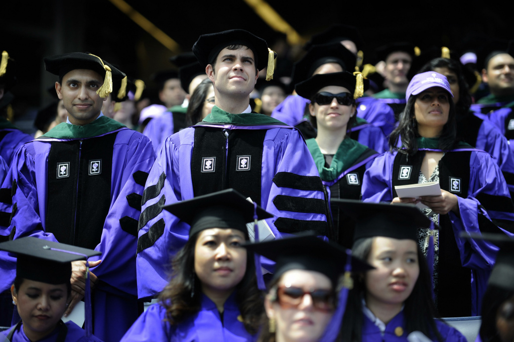 New York University (NYU) students attend NYU's 177th Commencement at the Yankee Stadium in New York, May 13, 2009.