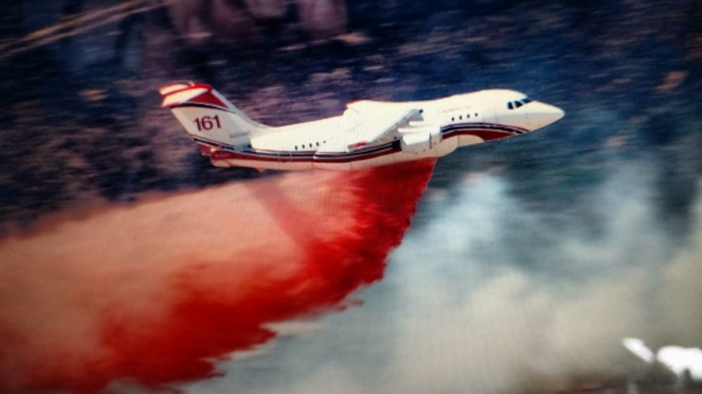One of two airtankers deployed to fight a blaze near the California Poppy Reserve in Lancaster.