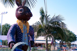 A large statue of a rabbit at the Orange County Fairgrounds.
