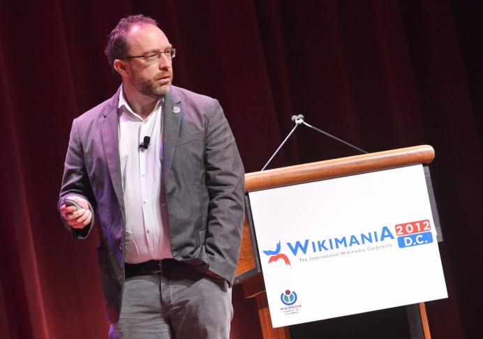 Wikipedia founder Jimmy Wales speaks during 'Wikimania 2012' international Wikimedia conference July 12, 2012 at the Lisner Auditorium in Washington, DC.
