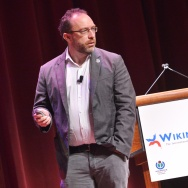 Wikipedia founder Jimmy Wales speaks dur