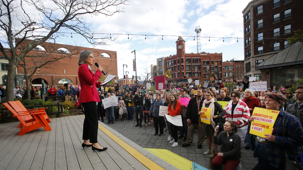 Alison Beyea of ACLU of Maine speaks during an abortion-rights rally at Congress Square Park in Portland, Maine, in May. Democrats elected last November have pushed through two laws that expand access to abortion in the state.