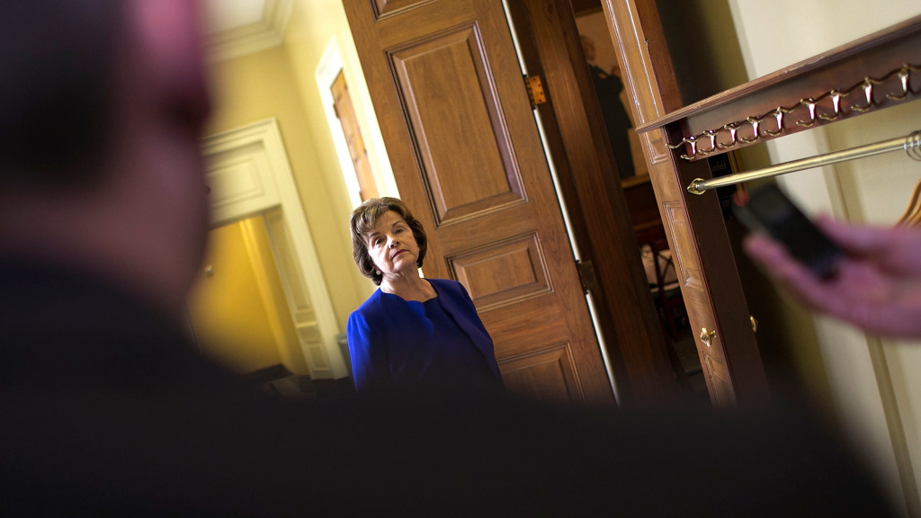 Sen. Dianne Feinstein speaks with reporters after alleging that the CIA broke federal law by secretly removing sensitive documents from computers used by the Senate Select Committee on Intelligence, the panel tasked with congressional oversight of the CIA.
