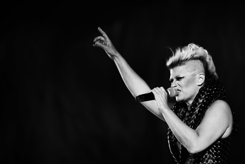 Peaches performs during the 2013 Locarno Film Festival in Switzerland.