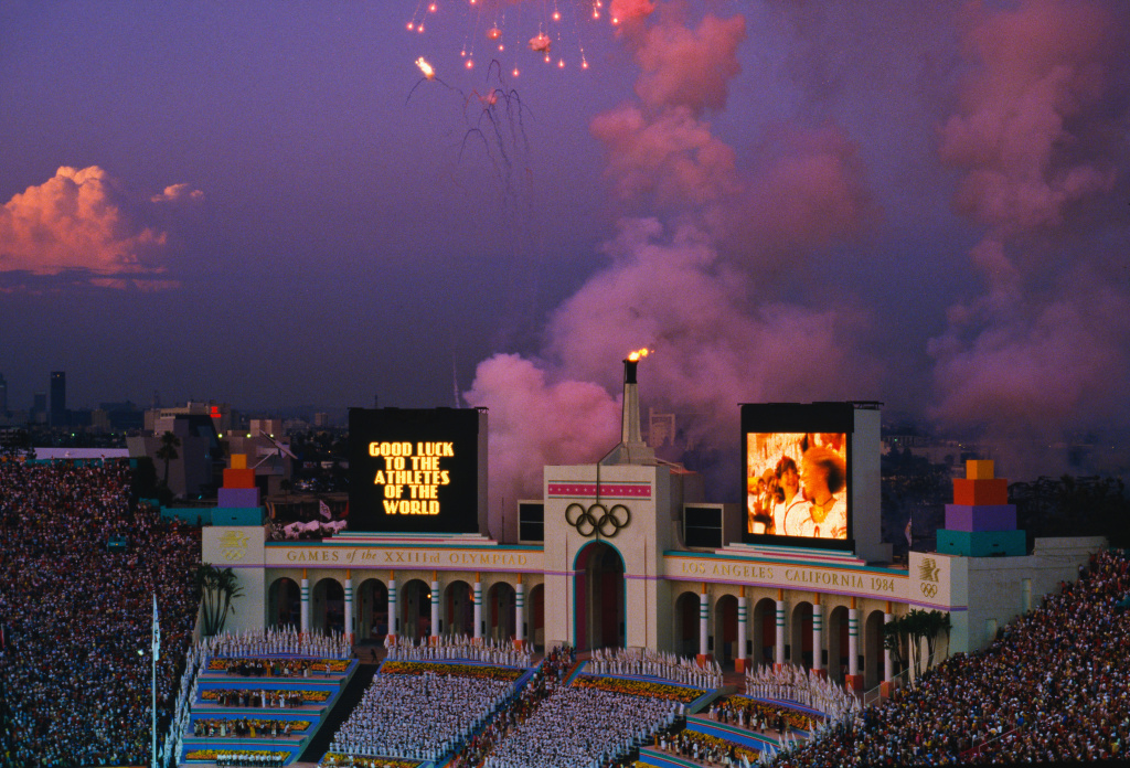File: A view of the Los Angeles Memorial Coliseum during the closing ceremony of the 1984 Summer Olympics in Los Angeles on Aug. 12, 1984. The scoreboard has a message reading: