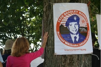Protestors gather in support of Bradley Manning.