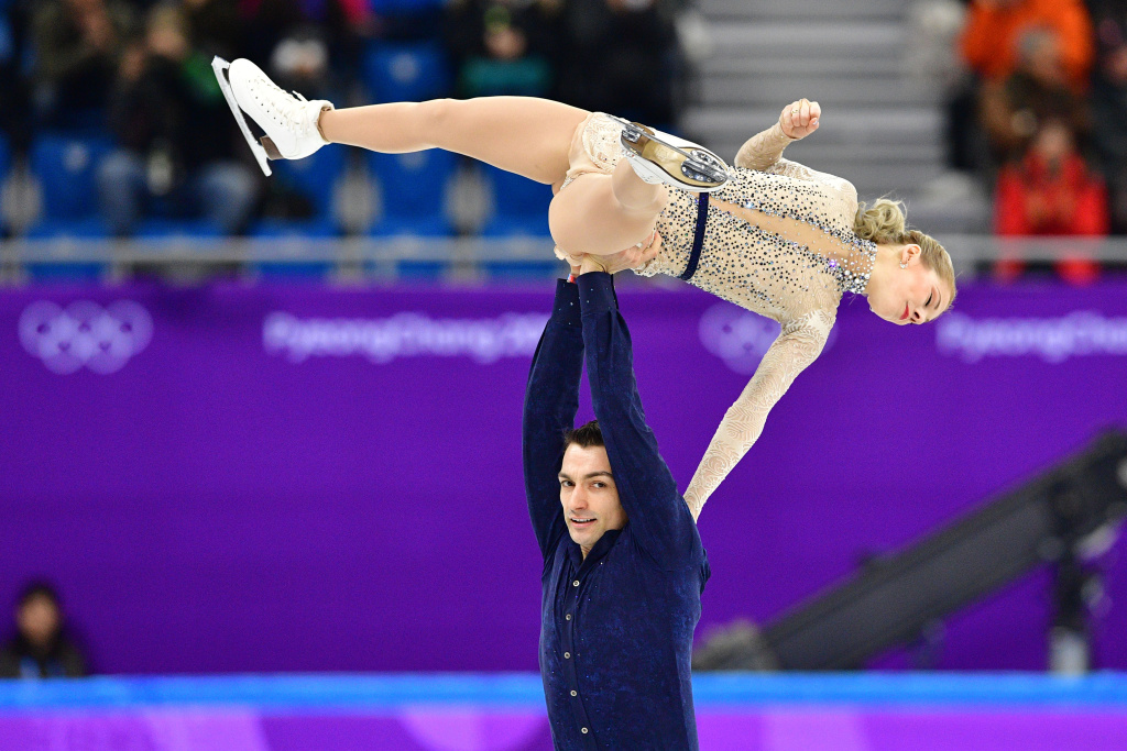 Alexa Scimeca Knierim and Chris Knierim compete in the figure skating team event pair skating short program during the Pyeongchang 2018 Winter Olympic Games on February 9, 2018.