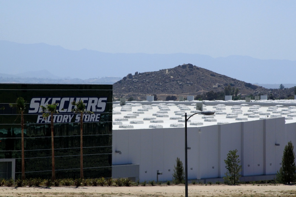 The Skechers distribution center as seen from the 60 freeway. That distribution center has only generated about 500 jobs after promising up to 3,000.