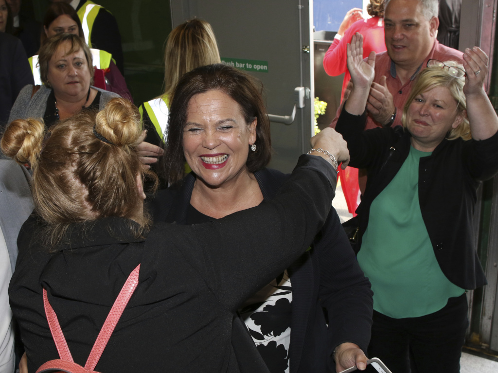 Left-wing Republican party leader Mary Lou McDonald celebrates the