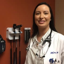 Dr. Allison Campos practices family medicine at the Northeast Valley Health Corporation's San Fernando Health Center, near where she grew up.